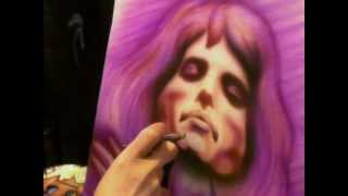 Nick Smith BA(Hons) paints a Freddie Mercury (Queen) T-shirt -