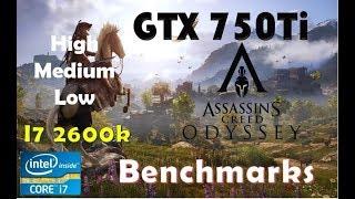 Assassin's Creed Odyssey GTX 750Ti - 1080p - High - Medium - Low - 900p - Performance Benchmarks