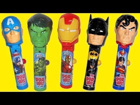 Superhero Lollipop Ups with Ironman, Captain America & Batman