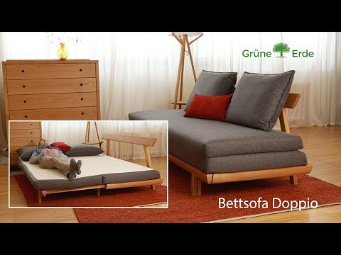 Grüne Erde Bettsofa Doppio ausziehbar - Schlafsofa mit Lattenrost & Matratze