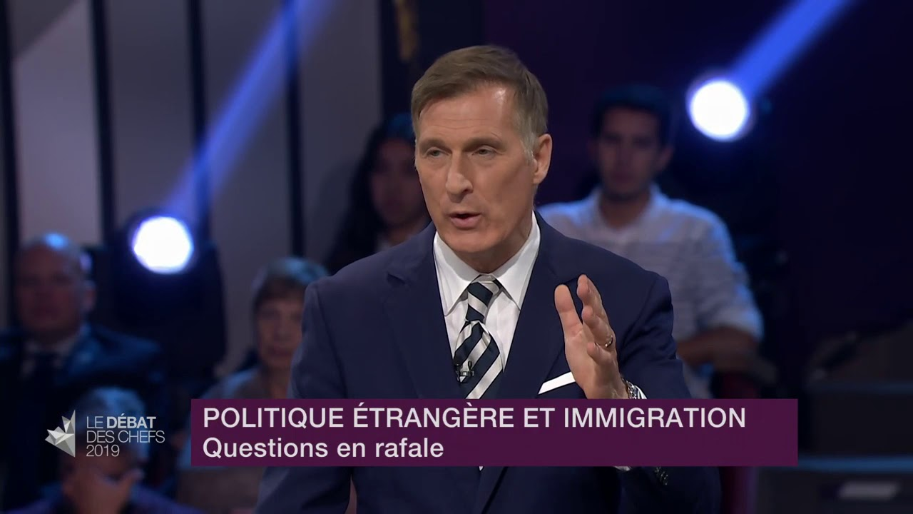 Maxime Bernier answers a question about Canada's role on the world stage