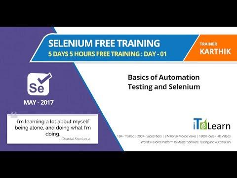 Selenium Free Training Day 1 5 Days 5 Hours Free ... - YouTube