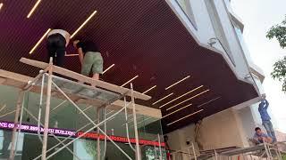 Thi công tấm ốp trần nan gỗ nhựa tại TP Đồng Hới Quảng Bình