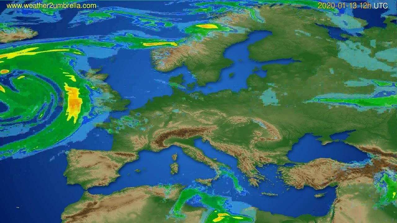 Radar forecast Europe // modelrun: 00h UTC 2020-01-13
