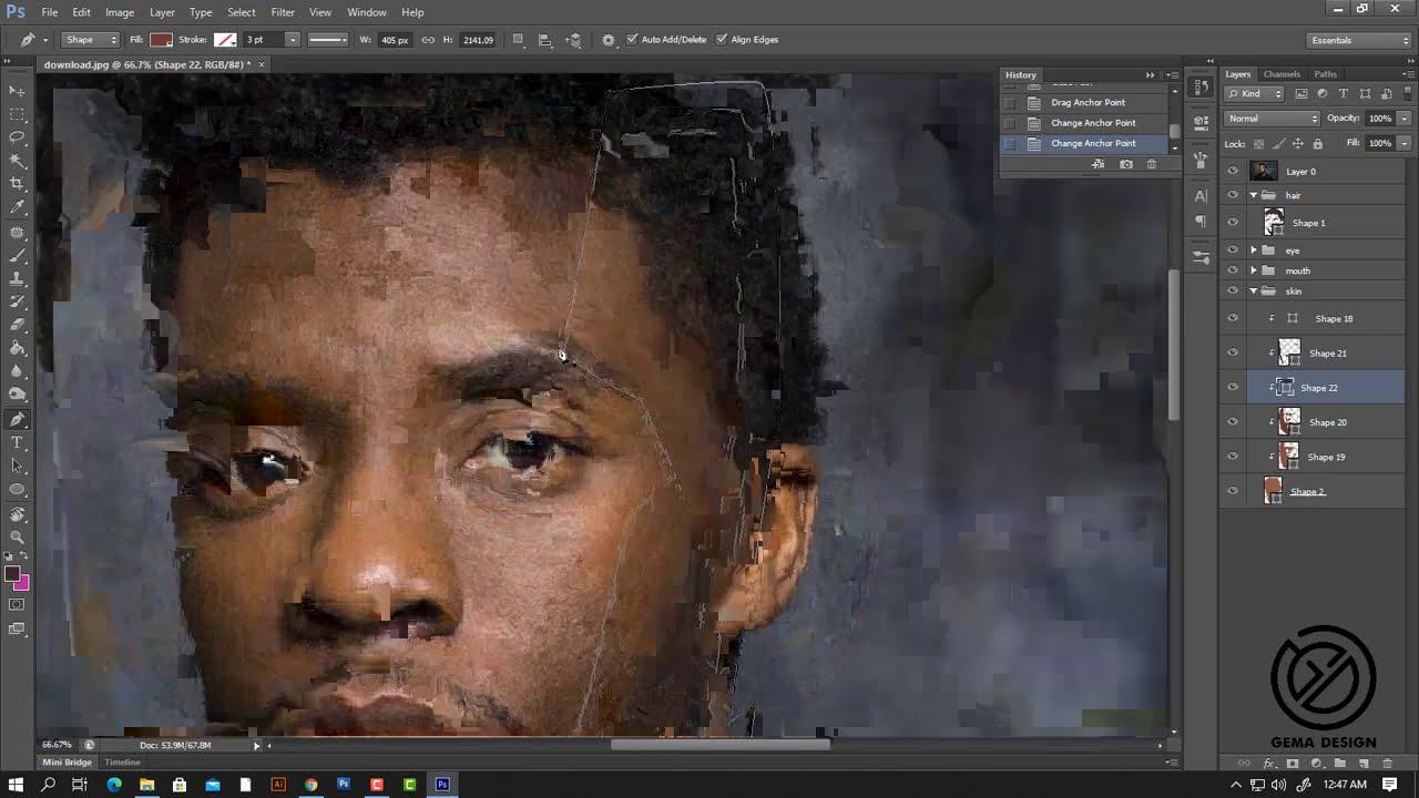 vector vexel portrait art black panther photoshop tutorial by dhoni cheste