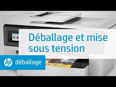 Déballage et mise sous tension de l'imprimante grand format tout-en-un HP OfficeJet Pro gamme 7720