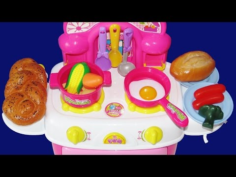 Toy kitchen cooking baking play-doh bread slime egg velcro cutting vegetables mentos lemonade