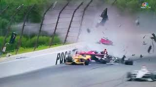 [Alternate Angle]  Robert Wickens crash -  IndyCar Pocono 2018 - best view