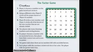 Factor Game (Prime Time)