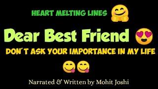 Dear Best Friend || Best Friend Poetry in English || Whstapp Status for Best friend