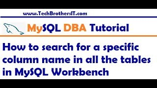 How To Search For A Specific Column Name In All The Tables In MySQL Workbench   MySQL DBA Tutorial