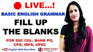 🔴 Fill Up The Blanks | Fill in The blanks | Basic English Grammar For SSC, Bank [Hindi] | Part-9
