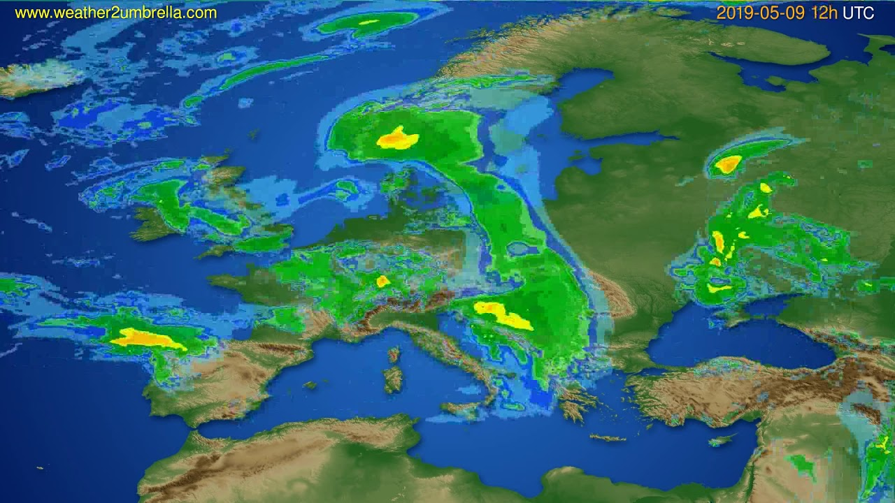 Radar forecast Europe // modelrun: 00h UTC 2019-05-09