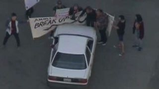Driver in Los Angeles rams through pipeline protest
