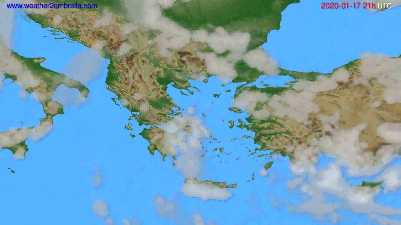 Cloud forecast Greece // modelrun: 12h UTC 2020-01-16
