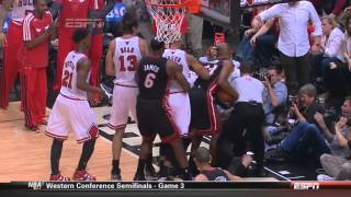 Joakim Noah pushes Birdman  after hard foul on Nate Robinson Heat-Bulls Game 3