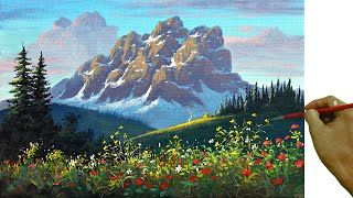 Acrylic Landscape Painting In Time-lapse / Rocky Mountain With Snow / JMLisondra