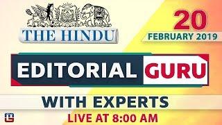 The Hindu | Editorial Guru| | 20 Feb 2019 | UPSC, RRB, Bank, IBPS, SSC | 8:00 AM