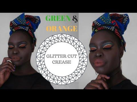 GREEN & ORANGE GLITTER CUT CREASE MAKEUP TUTORIAL   Darkskin makeup