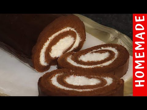 Holiday Special Recipe Chocolate Swiss Roll Cake by (HUMA IN THE KITCHEN)