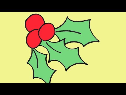 How to Draw Christmas Holly Step-By-Step