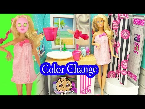 Barbie Spa To Fab with Color Changing Makeup Mask & Nail Polish - Cookieswirlc Video