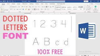 Dotted Letters Font In MS Word | Tracing Letters For Toddlers In Microsoft Word