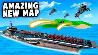 NEW Aircraft Carrier vs Island Base MAP! Epic Artillery Strikes! (Ravenfield Best Mods)
