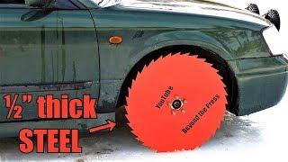 Testing Saw Blade Wheels on Frozen Lake!