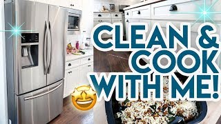 KITCHEN CLEAN WITH ME! ✨ MEAL PREP + FREEZER MEAL 🍽 CLEANING MY STAINLESS STEEL AND WHITE KITCHEN!