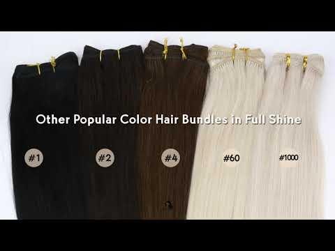 Full Shine Sew In Hair Weft Bundles 100% Remy Human Hair White Blonde (#1000)