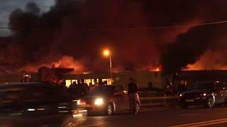 Как горел московский рынок Синдика - съёмки с земли и воздуха
