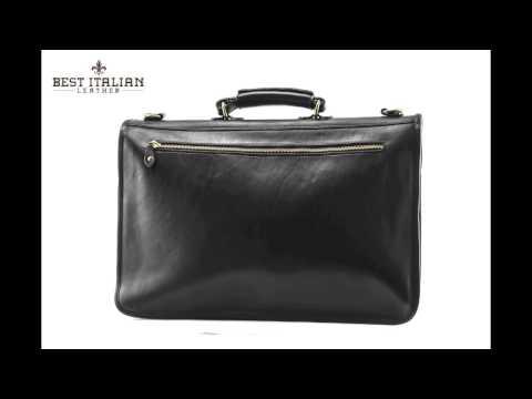 IMedici Spacious Italian Leather Laptop Briefcase with Turn-key Closure Color Black, SKU - IM4050BK