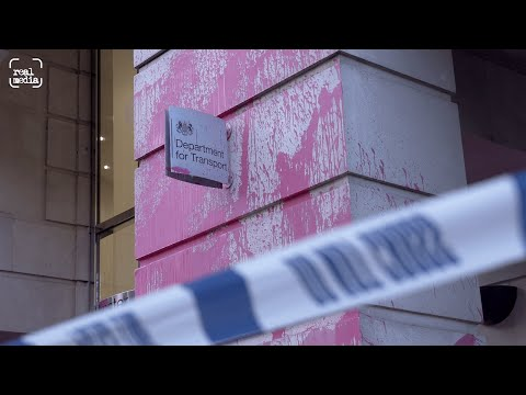 Burning Pink spray paint at Dept for Transport