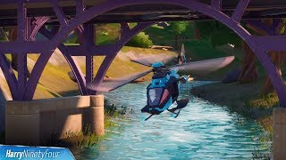 Fly a Choppa Under Purple, Red and Blue Steel Bridges Locations - Fortnite