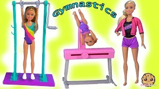 Gymnastics Class - Barbie Gym Coach Helps Girl Flip in Air - New Doll Video
