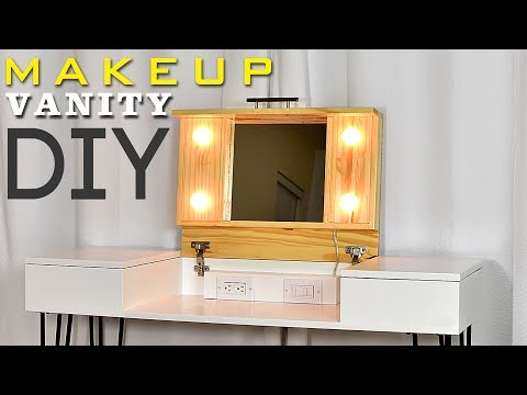 DIY MAKEUP VANITY DESK   With Storage (Plans Available)