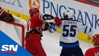 Mark Scheifele Tripped By Petr Mrazek, Then Fights Brett Pesce
