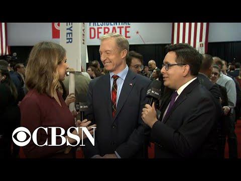 Tom Steyer says he didn't hear post-debate exchange between Warren and Sanders