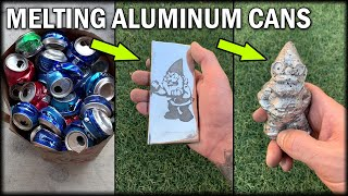 Casting An Aluminum Garden Gnome & Ingot From Soda Cans - Lost PLA Casting Process