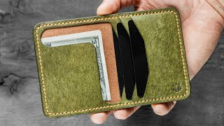 #010 Making Minimalist Leather Wallet / Card Holder Handmade DIY PDF Pattern How Its Made?