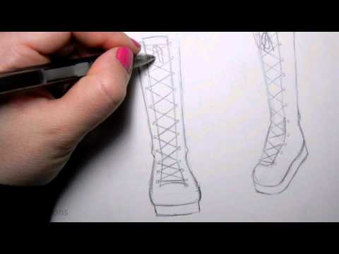 How To Draw Manga Shoes Tall Lace-Up Boot | Anime And Manga Art DIYs
