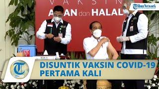 Jokowi Pertama Kali Divaksin Covid-19, Disuntik Lengan Kiri: Gak Terasa Sama Sekali