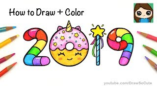How to Draw + Color 2019 Bubble Numbers | Unicorn Donut