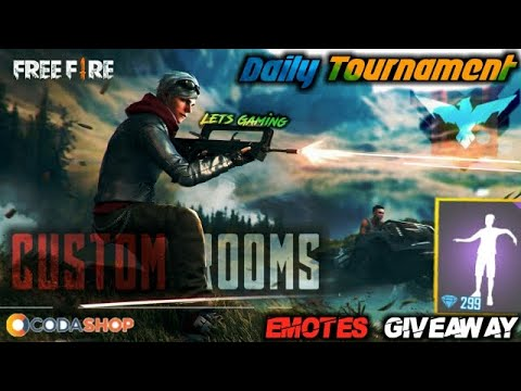 free fire live--custom rooms giveaway with codashop-rush gameplay