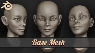 How To Sculpt Stylized Female Face In Blender 2.8 (Tutorial) | Base Mesh