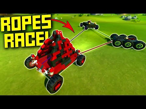 We Race To The Finish, But Our Cars Are Attached WITH ROPE!  - Scrap Mechanic Multiplayer Monday