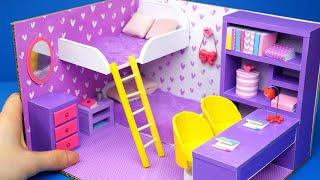 DIY Miniature Cardboard House #28   Purple Bedroom For Two