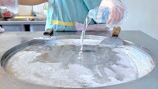 Water shave ice milk ice cream VS blueberry and Lichee ice cream rolls challenge