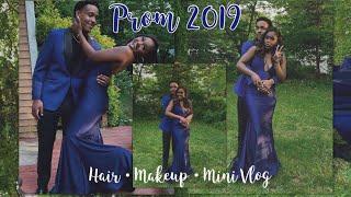 PROM 2019// MAKEUP, HAIR, VLOG & PICS// MIDNIGHT BLUE DRESS AND GLAM SMOKY EYE// TIANI MCLOYD